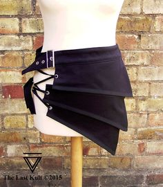 Dystopian apocalyptic half mini skirt clothing black alternative unisex fashion