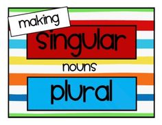 This free file was created to help our kiddos learn the specific rules of pluralizing nouns.  It contains posters, 24 word cards to sort under headings ...