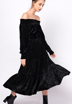 Series Noir black velvet midi bardot dress.