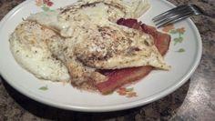 Day 21 breakfast: eggs, bacon , black coffee