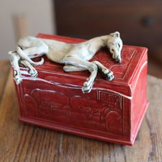 Image of Sleeping Greyhound on red Home Sweet Home box