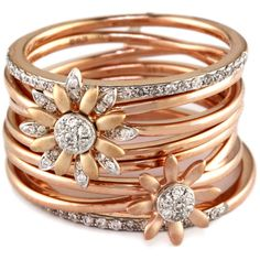 Effy Collection Diamond Flower Ring In 14 Kt. White And Rose Gold,... ($1,480) ❤ liked on Polyvore