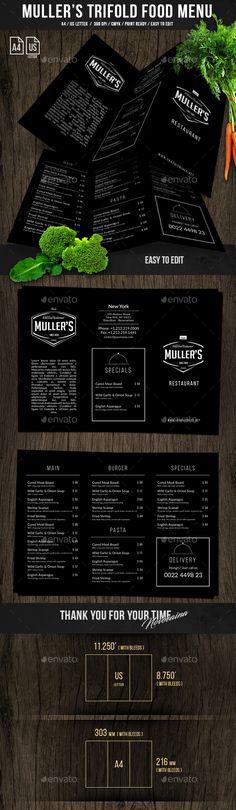 Muller's Trifold A4 & US Letter Menu