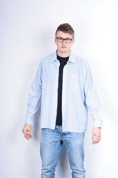 Orvis Mens 43 3XL Casual Shirt Striped White Cotton XXXL Vintage Retro Fishing