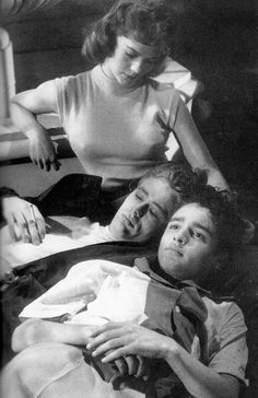 "James Dean, Natalie Wood & Sal Mineo in a screen test for ""Rebel Without a Cause"" (1955)"