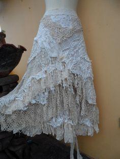 ♪✰♪ Boêmio Saia de Renda -  / ♪✰♪ Boho Lace Skirt -