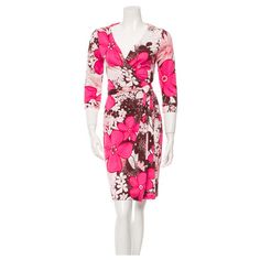 Pre-Owned Diane Von Furstenberg Floral  Julian Two Dress Size 2 ($92) ❤ liked on Polyvore featuring dresses, pink, long-sleeve floral dresses, floral wrap dress, floral dresses, long sleeve v neck dress and long sleeve wrap dress