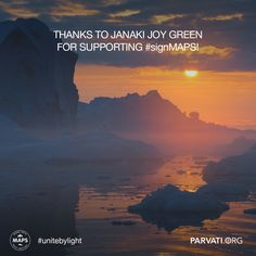 Gratitude to Janaki Joy Green for supporting MAPS (the Marine Arctic Peace Sanctuary) at parvati.org!   Since our inception two years ago, Parvati.org has been self-funded and 100% volunteer-driven. Our goal is to realize MAPS by the end of 2018. The planet can't wait.  We are rolling out an innovative 24-month marketing plan to reach our goal as we continue dialogue with governments worldwide. For this, we need your help. Please consider making a donation at parvati.org.