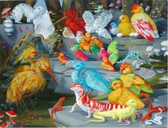 """Laurie Hogin """"Laurie Hogin's allegorical paintings of vicious creatures suggestive of human counterparts skillfully appropriat. Call Art, Lowbrow Art, Pop Surrealism, Various Artists, Animal Paintings, American Artists, Painting Techniques, Painting & Drawing, Contemporary Art"""