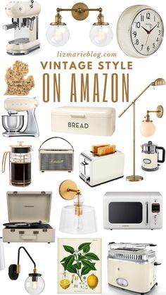 vintage kitchen Vintage Inspired Kitchen Finds on - vintage Vintage Regal, Diy Vintage, Vintage Style, Amazon Home Decor, Diy Home Decor, Affordable Home Decor, Home Decor Items, Vintage Oven, Sweet Home