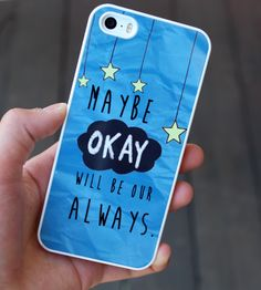 """""""Maybe Okay Will Be Our Always"""" Case by Good Vibe Cases. This case comes in white plastic. If you would like this design in rubber, check out our rubber case listing for the iPhone 4/4S and 5/5S under the tab """"SHOP ALL"""". Our rubber cases ($16) are only $1 more than plastic cases, and they offer e..."""