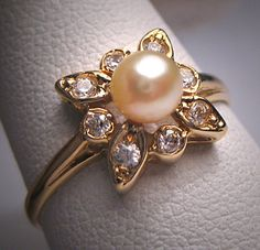 Gorgeous Vintage White Sapphire Pearl Wedding Ring