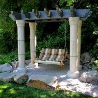 NSorenson Pergola Arbor Swing Base Idea Large Concrete Caps For The