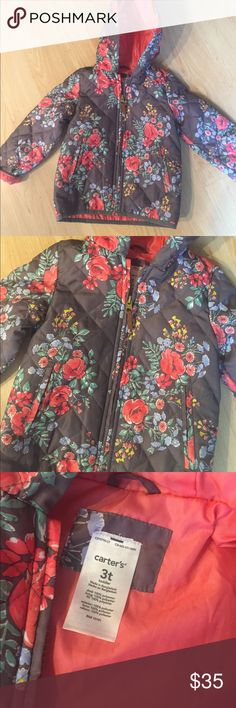 NWOT never worn Carters Gray Floral Rain Coat Seriously adorable and never worn. We live in California and it basically never rains lol. Brand new! Carter's Jackets & Coats Raincoats