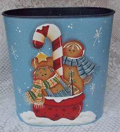 GB wastebasket, hand painted