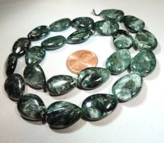 Seraphinite TearDrop Beads 18x14mm 4 beads by StoneWingSupplies, $10.00  #jewelrysupplies #seraphinite #stoneteardrop
