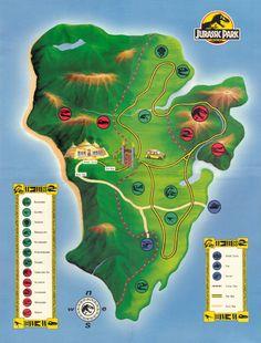 El mapa de 'Parque Jurásico':   Hogwarts, Poniente y otros 24 mapas flipantes de lugares de ficción
