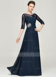 A-Line/Princess Scoop Neck Floor-Length Ruffle Beading Sequins Zipper Up Sleeves Sleeves No 2015 Dark Navy Spring Summer Fall General Plus Chiffon Lace Mother of the Bride Dress Mother Of Groom Dresses, Mothers Dresses, Mother Of The Bride, Mob Dresses, Modest Dresses, Fashion Dresses, Bride Dresses, Ruffle Beading, Bridesmaid Dress Colors