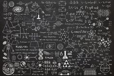 Scientific Chalkboard Effect Wall Mural - Murals Wallpaper
