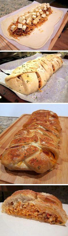 Braided Spaghetti Bread // Rhodes Bread via Stephanie from Plain Chicken