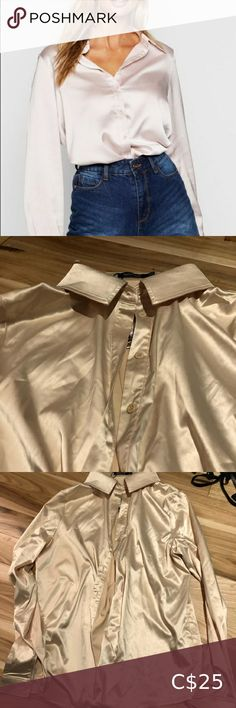 Satin Oversized Button Up BNWT never worn Colour is champagne not pink Doesn't fit my style Boohoo Tops Button Down Shirts Button Up, Button Down Shirt, Plus Fashion, Fashion Tips, Fashion Trends, Boohoo, Colorful Shirts, Champagne, Satin