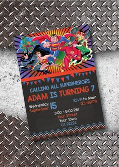Justice League Birthday Invitation by ChicPatternsByChloe on Etsy
