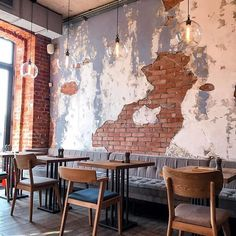 Brick wall and plaster Decoration Restaurant, Deco Restaurant, Restaurant Concept, Restaurant Design, Cafe Bar, Cafe Bistro, Cafe Shop, My Coffee Shop, Coffee Shop Design