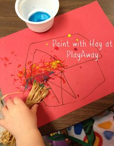 Grow: Paint With Hay At PlayAway Farm Theme Preschool Classroom Lesson Plans. Learn about farm animals and life o. Farm Animals Preschool, Farm Animal Crafts, Farm Crafts, Preschool Themes, Preschool Art, Rodeo Crafts, Farm Lessons, Farm Activities, Animal Activities