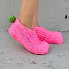 Instant Download  Crochet Pattern  Knit look Slippers by Mamachee
