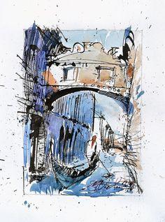 Sospiri Watercolor painting Bridge of Sights Venetian | Etsy Urban Painting, Ink Painting, Watercolor Paintings, Beautiful Artwork, Cool Artwork, Paper Dimensions, Urban Sketching, Hand Painted Signs, Watercolor And Ink