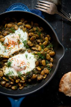 Iranian Lima Beans with Eggs & Moroccan Carrot Salad with Medjool Dates