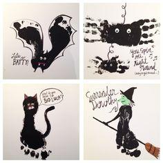 Halloween hand foot prints ..... bat, spider, cat, witch