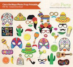 Mexico photo booth props download on Etsy.