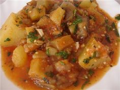 Ajapsandali: stew made from eggplant, potato, bell pepper, tomato, and herbs.