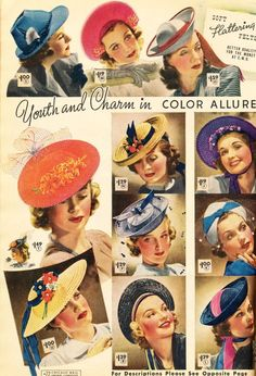 Chicago Mail Order Catalog - Spring and Summer 1939 - Part 3 1930s Fashion, Vintage Fashion, Vintage Style, Classic Fashion, Victorian Fashion, Fashion Fashion, 1930s Hats, Vintage Purses, Vintage Hats