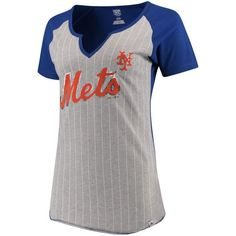 2123cd659cd New York Mets Majestic Women s Cooperstown Collection From the Stretch  Pinstripe Notch Neck T-Shirt - Gray Royal