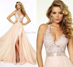 Light Pink Halter Neck Sleeveless Sexy Backless Dress Formal Evening Elegant Chiffon Long Lace Income Prom Dresses 2015