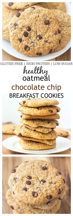 Cookies for breakfast? You bet! These healthy chocolate chip oatmeal cookies are full of wholesome ingredients and SO easy to whip up- They are stable at room temperature too! {vegan + gluten free options!}
