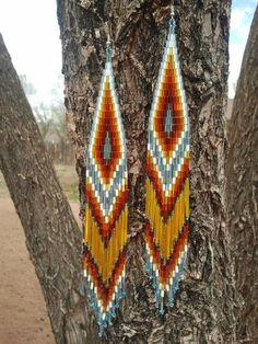 Native American Made Beaded Shoulder Duster Earrings