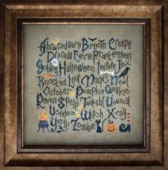 """""""Halloween Sampler"""" is the title of this wonderful Halloween cross stitch pattern from Cottage Garden Samplings."""