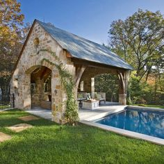 Amazing Backyard Pool Cabanas - And Cabana Pool House Ideas Outdoor Rooms, Outdoor Living, Outdoor Kitchens, Outdoor Photos, Outdoor Furniture, Verge, Pool House Designs, Pool Cabana, Backyard Cabana