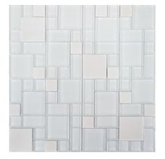 Parker Random Sized Glass and Stone Mosaic Tile in White