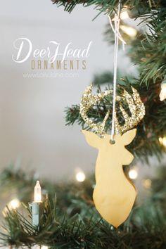 How to make clay deer head ornaments tutorial via lollyjane.com