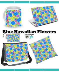 Blue Hawaiian Flowers  - #Zippi #Gravityx9 An illustration of bright blue Hawaiian Hibiscus floral pattern with yellow and blue fractilius abstract background.