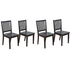 - Slat Black Rubberwood Dining Chairs (Set of 4) - A durable rubberwood construction and a slat back design highlight these durable chairs. This set features a sleek black finish and will be a great addition to almost any dining set.  $197.99