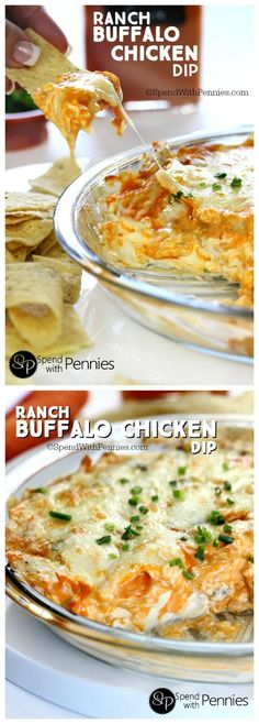 Ranch Buffalo Chicken Dip is the perfect party recipe! Creamy, cheesy & spicy we love serve this with warm chips! (You can sub bleu cheese if preferred).