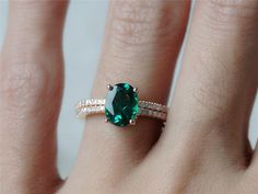 Xmas Promotion Colored Stone Ring Set 6x8mm Emerald by InOurStar