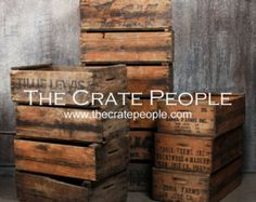 Zoria Farm Vintage Wood Crates, Rustic Crates - Hundreds Available. vintage wood crates used in farms during the harvest season. Crate Furniture, Custom Made Furniture, Furniture Making, Industrial Furniture, Reclaimed Furniture, Industrial Table, Furniture Projects, Wood Projects, Old Barn Wood