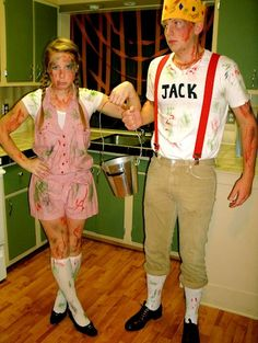 """Jack and Jill after the Hill Costumes. only downfall is """"broke his crown"""" means his skull, not an actual crown. there should be a bandage around his head instead."""
