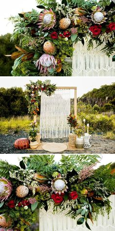 Boho wedding ceremony arbour with wild protea and rose garland and macrame backdrop | Ainslee Burke Photography